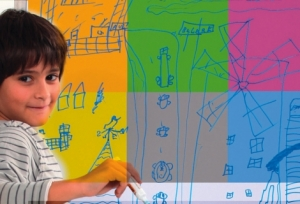 Folie autocolanta magnetica de tip whiteboard - culoare galben - 100x100 cm3