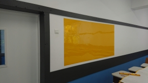 Folie autocolanta magnetica de tip whiteboard - culoare galben - 100x100 cm0