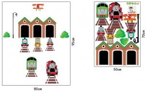 Abtibild perete copii - Trenulete in gara4