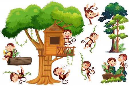 Autocolant camere copii - Casa Maimutelor - 60x90 cm1
