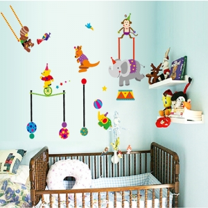 Autocolant de perete copii - Animalute la circ1