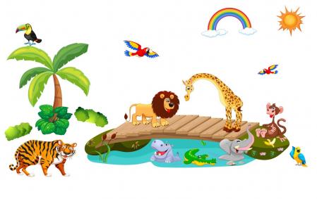 Autocolant de perete pentru copii - Podul cu animale1