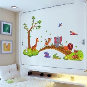Autocolant de perete pentru copii - Podul cu animale4