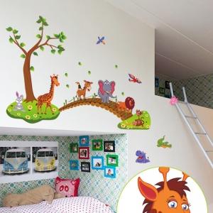 Autocolant de perete pentru copii - Podul cu animale2