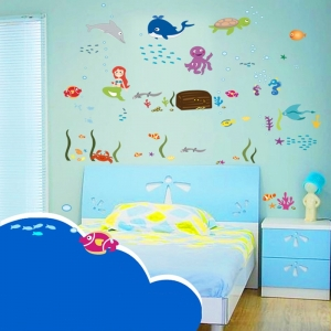 Autocolant decorativ camere copii - Lumea sirenei3