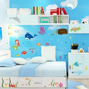 Autocolant decorativ camere copii - Lumea sirenei0