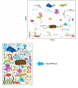 Autocolant decorativ camere copii - Lumea sirenei6