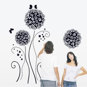 Autocolant decorativ - Flori si fluturi1
