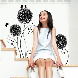 Autocolant decorativ - Flori si fluturi2