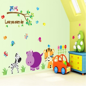 Autocolant decorativ perete - Love you every day (animale, jungla)2