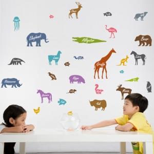 Autocolant educativ  - Siluetele animalelor si denumirea lor - 65x60 cm0