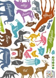 Autocolant educativ  - Siluetele animalelor si denumirea lor - 65x60 cm5