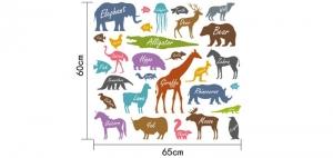 Autocolant educativ  - Siluetele animalelor si denumirea lor - 65x60 cm6