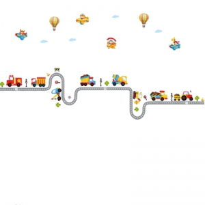 Autocolant pentru perete camere baieti - Masini, avioane si baloane4
