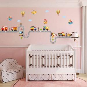 Autocolant pentru perete camere baieti - Masini, avioane si baloane2