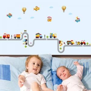 Autocolant pentru perete camere baieti - Masini, avioane si baloane0