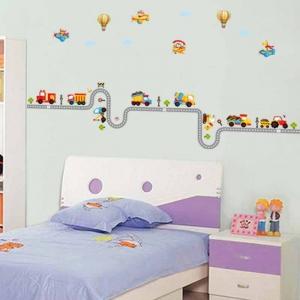 Autocolant pentru perete camere baieti - Masini, avioane si baloane1