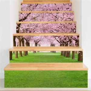 Autocolant pentru trepte - Livada de ciresi infloriti - 6 folii de 18x100 cm1