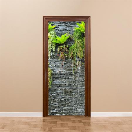 Autocolant usi interior -Cascada Perete Piatra si Plante Verzi - 1 folie de 77x200 cm [3]