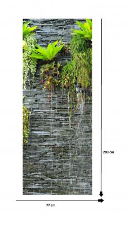Autocolant usi interior -Cascada Perete Piatra si Plante Verzi - 1 folie de 77x200 cm [4]