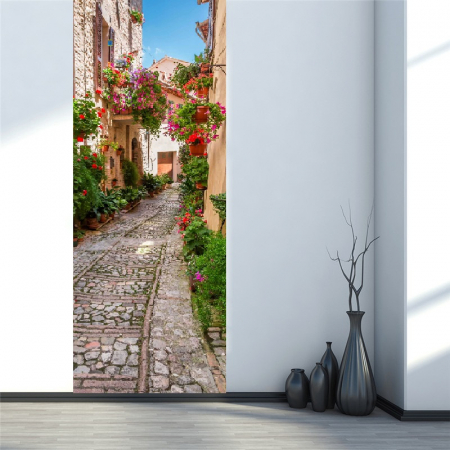 Autocolant usi interior - Straduta cu Flori - 1 folie de 77x200 cm [1]