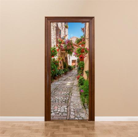 Autocolant usi interior - Straduta cu Flori - 1 folie de 77x200 cm [0]