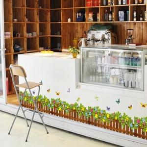 Stickere tip brau decorativ - Gradinita cu flori si fluturasi - 132x35 cm4