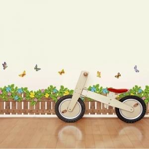 Stickere tip brau decorativ - Gradinita cu flori si fluturasi - 132x35 cm1