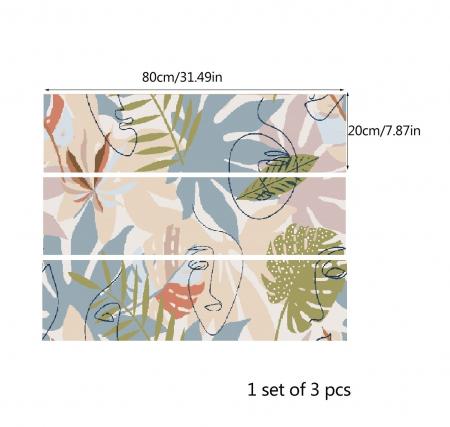 Autocolante pentru mobila - Frunze Tropicale si Siluete- 20x80 cm x 3 bucati [1]