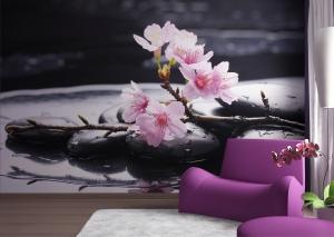 Fototapet Flori de Cires si Pietre Negre FTS 01851