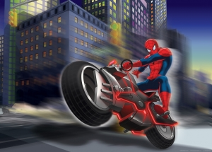 Fototapet Spiderman si Motocicleta0