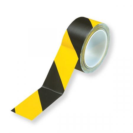 Banda adeziva marcare, PVC galben/negru, 50mm x 66m0