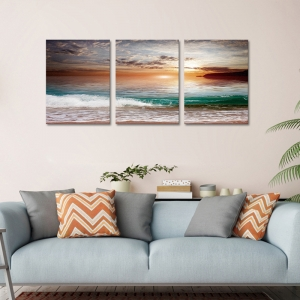 Set Tablouri Canvas - 3 piese - Mare la apus - 78x36 cm0