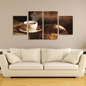 Set Tablouri Canvas - 4 piese - Ceasca si Boabe de Cafea - 104x56 cm2