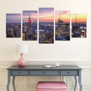 Set Tablouri Canvas - 5 piese - Oras Luminat - 113x56 cm2