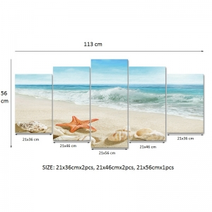 Set Tablouri Canvas - 5 piese - Plaja - 113x56 cm4