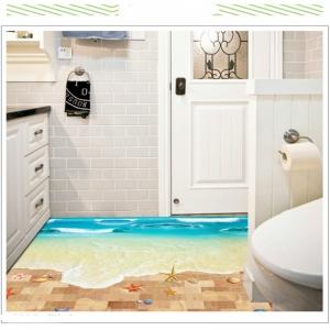 Sticker 3D pentru podea - Plaja cu valuri0