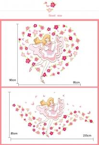 Sticker camera fete  - Balerina printre flori2