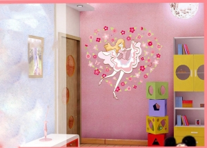 Sticker camera fete  - Balerina printre flori3