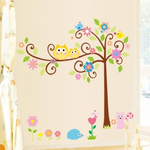 Sticker camere copii - Bufnite pe creanga4