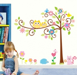 Sticker camere copii - Bufnite pe creanga0