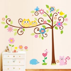 Sticker camere copii - Bufnite pe creanga2