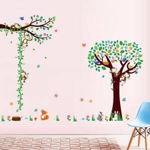Sticker camere copii - Maimute in copac si pe liana1