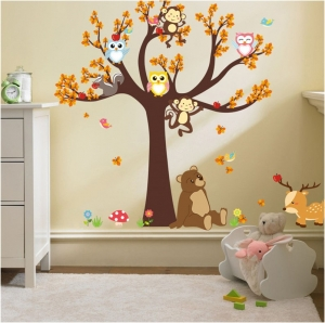 Sticker copii - Copac, frunze de toamna si animale6
