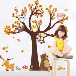 Sticker copii - Copac, frunze de toamna si animale0
