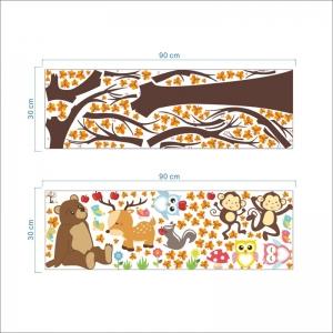 Sticker copii - Copac, frunze de toamna si animale3
