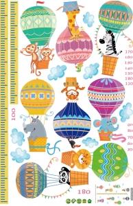 Sticker copii masurator inaltime cu animale in baloane cu aer cald - grafic de crestere8