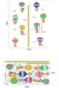 Sticker copii masurator inaltime cu animale in baloane cu aer cald - grafic de crestere9