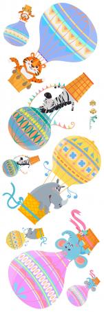 Sticker Copii Animale in Baloane cu Aer Cald1