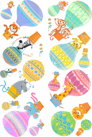Sticker Copii Animale in Baloane cu Aer Cald0